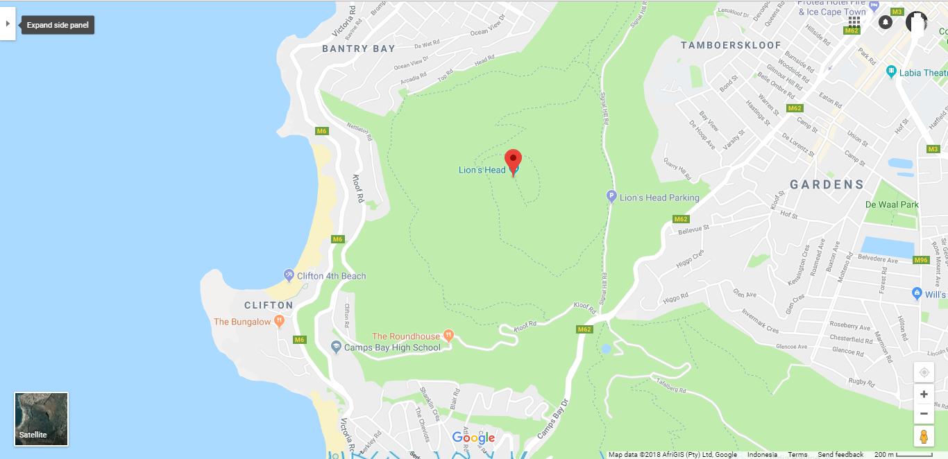 Basic Lion's Head hike trail map